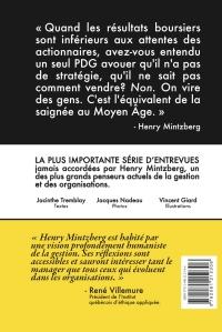 Quatrième de couverture du livre Entretiens avec Henry Mintzberg, de Jacinthe Tremblay